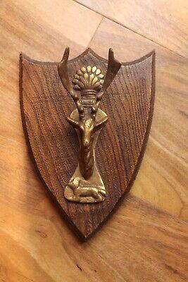 Antique Vintage Stag Head Fox Wheatsheaf Brass Door Knocker Hunting Wood Plaque 2