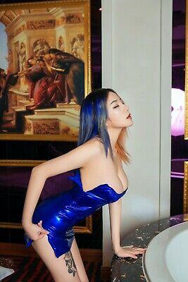 Damen Latex Wetlook Reißverschluss offen Kleid Minikleid Mini Dress Partykleid 8