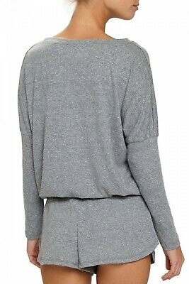 EBERJEY Heather Gray Slouchy Tee loungewear top long sleeve drawstring 4