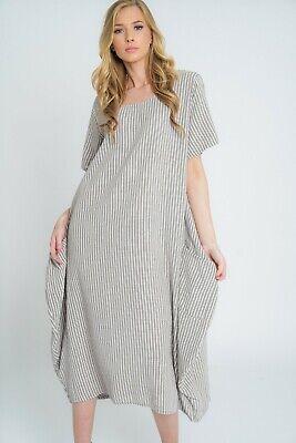 New Ladies Lagenlook Italian Quirky Striped Linen 2 Pocket Scoop Neck Long Dress 4