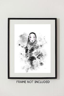 ART PRINT No Face, Spirited Away illustration, Studio Ghibli Anime Wall Art Gift 2