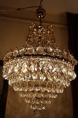 Antique Vintage Mid Century,Vistosi Style Crystal Chandelier Lamp 1950's.17 in 7