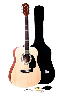 Rio Beginner Adult Student Full Size Acoustic Guitar Pack Starter Package Outfit 2