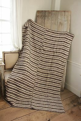 Vintage folk art throw blanket Homespun wool hemp blanket  linen brown stripe