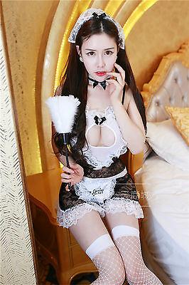 Set Costume Completino Cameriera Maid Serva Vestito Room Service Cosplay Calze 8
