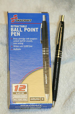 Skilcraft U.S. Government Retractable Ballpoint Pens Fine Point, Black Ink 12 EA 12
