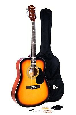 Rio Beginner Adult Student Full Size Acoustic Guitar Pack Starter Package Outfit 5