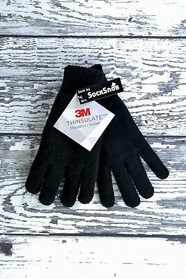 3 Sizes Mens 3M Black Thinsulate 40 Gram Thermal Lined Winter Warm Knit Gloves