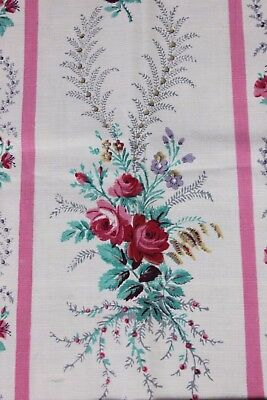 Beautiful Antique French 19thC Pink Rose Stripe Cotton Home Fabric Sample c1870