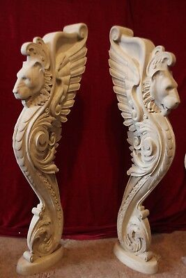Wooden stairs Baluster Newel, oak carved  gryphon statue, decorative element. 2