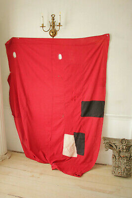 Antique Fabric Red & Black Polka dot French patched textile day bed canopy 9