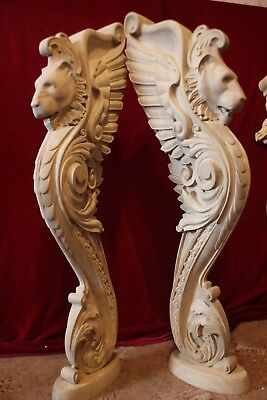 Wooden stairs Baluster Newel, oak carved  gryphon statue, decorative element. 8