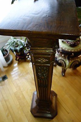 19C English Gothic Carved Oak Gilded Polychrome Pedestal 7