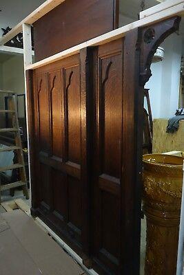 19C English Gothic Carved Tiger Oak Church Organ Wall Door&Original Hardware 4