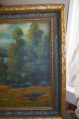 Antique ORIGINAL OIL ART PAINTING~E.Platt~RARE Mission Deco Frame Cadillac Maine 6