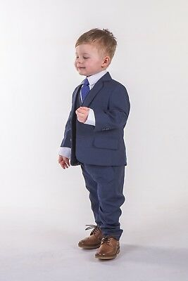 Boys Blue Suits Royal Blue Suit Navy Formal Wedding PageBoy Party Prom 5pc Suit 8