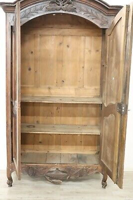 18th Century French antique Louis XV Walnut Carved Wardrobe or Armoire 8
