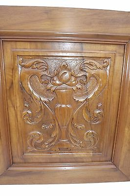 French Antique Pair Carved Wood Cupboard Door Panel Gothic Chimera Griffins 2