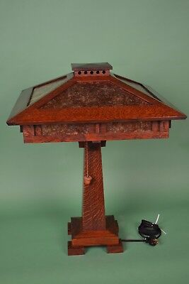 Mission Arts and Crafts Style Quarter Sawn Oak Tall Table Lamp Mica Shade Panels 2