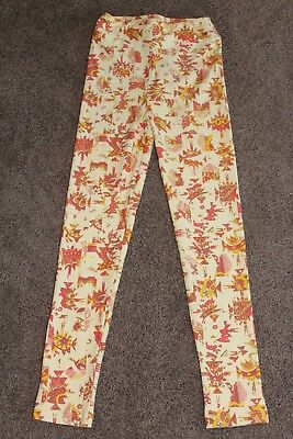 LuLaRoe KIDS Leggings Pale Yellow White Mustard Berry Colors Abstract Print L/XL 2