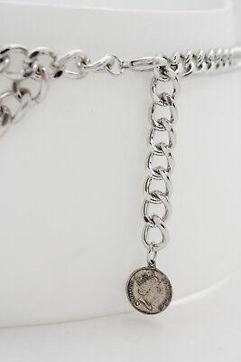 Women Silver Metal Chain Skinny Belt Ethnic Coin Charm Buckle Plus Size XL XXL