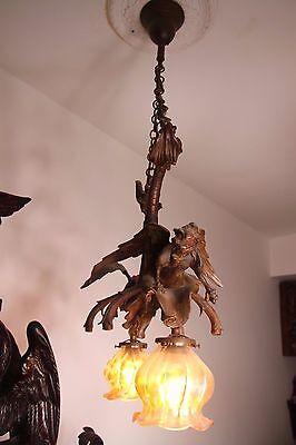 19C French Bronze Winged Griffin/Gargoyle/Dragon Chandelier 12