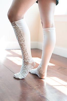 24 inches at Calf White blue size 9-11 Xpandasox Plus Size//Lymphedema Socks