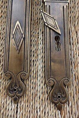 Vintage/antique beautiful door lock with key covers handles working order 27-11 5