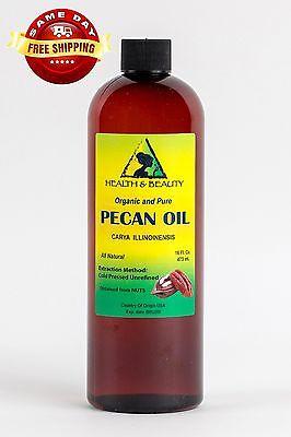 Pecan Oil Unrefined Organic Carrier Cold Pressed Virgin Raw Premium Pure 48 Oz 12