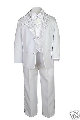 6pc Baby Toddler Boy Formal Baptism Communion White Tuxedo Suit Mary Stole Sm-20