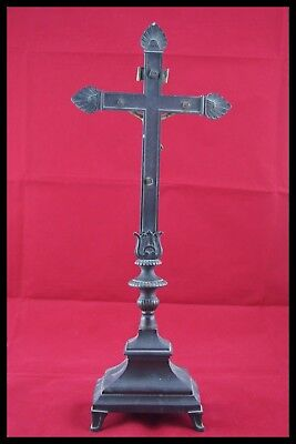 † 18Th Bronze & Gold Altar Crucifix Church Cross Jesus Christ Corpus Agnus Dei † 6