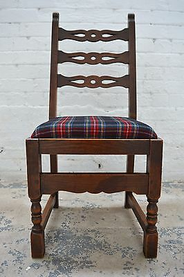 6 Antique rustic farmhouse high back upholstered dining chairs in tartan wool 3