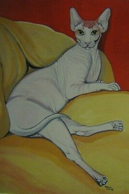 "C77    Original Acrylic Painting By Ljh       ""Pinkie""   Sphynx  Cat 5"