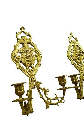French Antique Pair of Ormolu Bronze Wall Sconce with Bacchus Head 19th 4