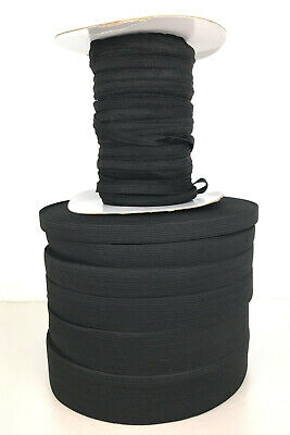 Black or White Elastic, Flat woven, 10mm 15mm 20mm 25mm 30mm 40mm 50mm 2