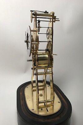 Pretty Miniature Scissor Frame Skeleton Clock With Alarm & Glass Dome Circa 1860 7