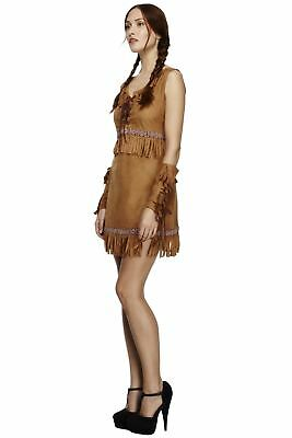Ladies Fever Pocahontas Costume Red Indian Native American Fancy Dress Outfit