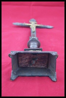 † 18Th Bronze & Gold Altar Crucifix Church Cross Jesus Christ Corpus Agnus Dei † 9