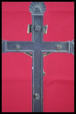 † 18Th Bronze & Gold Altar Crucifix Church Cross Jesus Christ Corpus Agnus Dei † 7