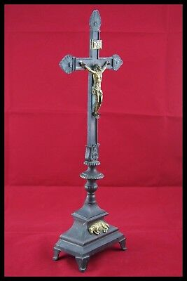 † 18Th Bronze & Gold Altar Crucifix Church Cross Jesus Christ Corpus Agnus Dei † 4