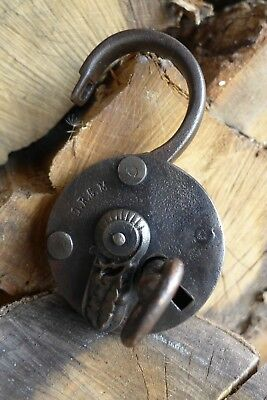 Antique Padlock with one key working order Made in Germany D.R.G.M collector 4