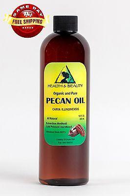 Pecan Oil Unrefined Organic Carrier Cold Pressed Virgin Raw Premium Pure 24 Oz 12