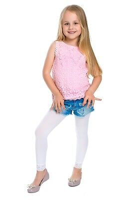 Girls Leggings with Lace Breathable Soft Full Length Kids White Age 1-13 6011 2