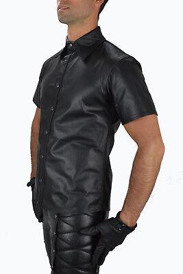 AW-666 Lederhemd Schwarze leder hemd,Soft leather shirt en cuir,Lederuniform 2