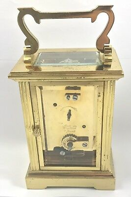 FRASER HART Brass Carriage Mantel Clock Timepiece with Key  Working Order 4