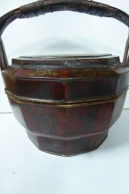 Chinese Lacquered Wooden Carry Basket Hand Painted Gilt 3