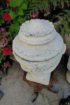 Vintage Concrete Lidded Garden Urn Post Topper Ornate Neoclassical Corinthian 2