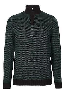 M/&S Genuine Mens Chunky 100/% Cotton Textured Half Zip Jumper Sweater Pullover To