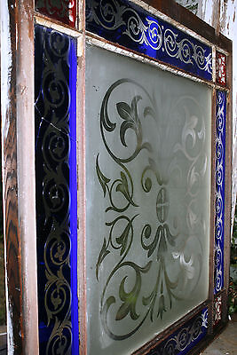 c1850 two glass window, cut glass to clear ruby, cobalt, clear, heart, tulip, 7' 4