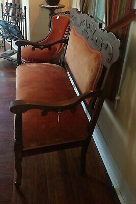 Antique Victorian Orange Velvet Eastlake Parlor Settee - LOCAL PICK UP ONLY 3
